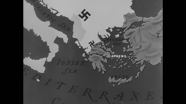 MAP Animated map showing Greek army stopping Italian Fascist moving into Greece from north through Albania Arrow showing Hitler's troops invading...