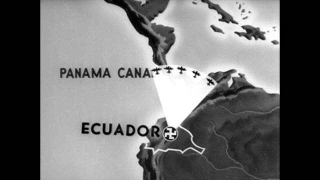 vídeos de stock, filmes e b-roll de animated map showing how nazi planes stationed in ecuador could attack the panama canal / sign for german airline sedta airplanes nazi presence in... - 1940