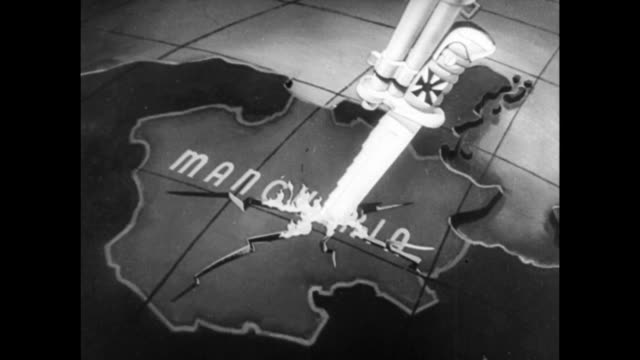Animated map showing Manchuria with a knife stabbing it / Japanese soldiers carrying Japanese flag / smoke and explosions on battlefield / Japanese...