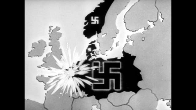 Animated map showing Nazi swastika symbol exploding over conquered territories of Holland Belgium France Norway and Denmark / Americans listening to...