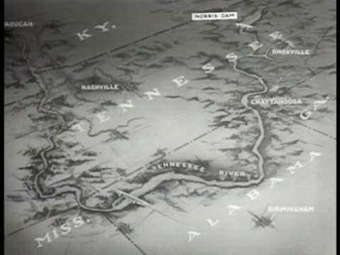 vidéos et rushes de animated map showing size of proposed project area flood flood water moving passing wooden shack standing flood watrer map showing riverboat channels - 1936