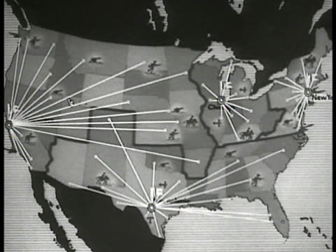 stockvideo's en b-roll-footage met animated mobilization map. points branching out from chicago san antonio san francisco washington d.c. - 1935