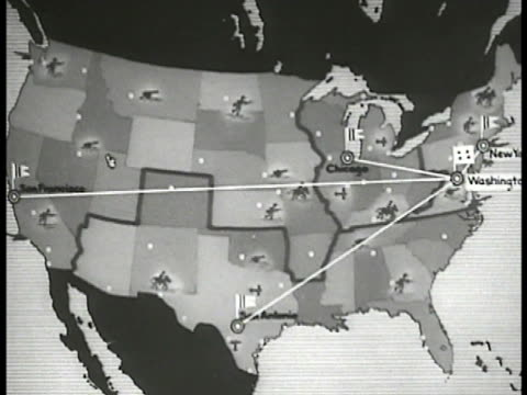 animated mobilization map. points from washington d.c. to chicago san antonio san francisco - 1935 stock videos & royalty-free footage