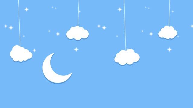 vídeos de stock e filmes b-roll de animated paper backgrounds fairy tale sleeping background 4k. cartoon nature. stock video - childhood