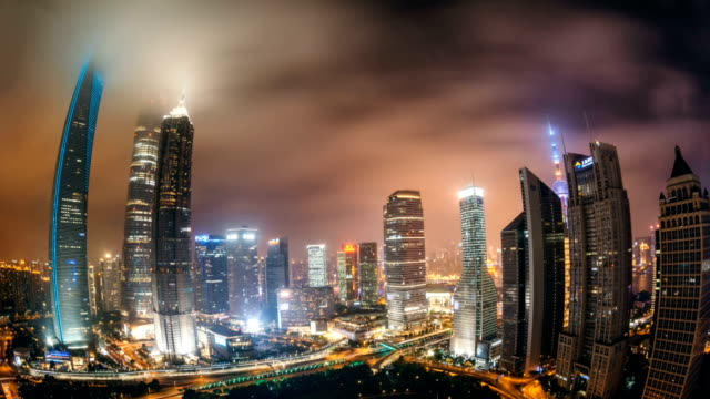 Animated picture with cinemagraph effect of Fisheye View of Downtown Shanghai at Night / Shanghai, China