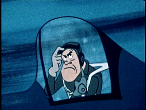 stockvideo's en b-roll-footage met 1949 montage animated pilot panicking as his plane loses altitude - angst