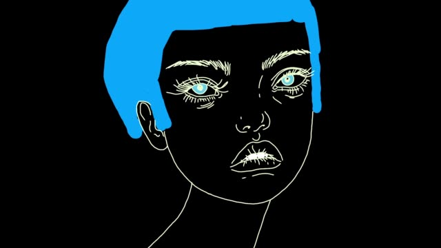 animated portrait of cute girl with colorful short hair - human face drawing stock videos & royalty-free footage