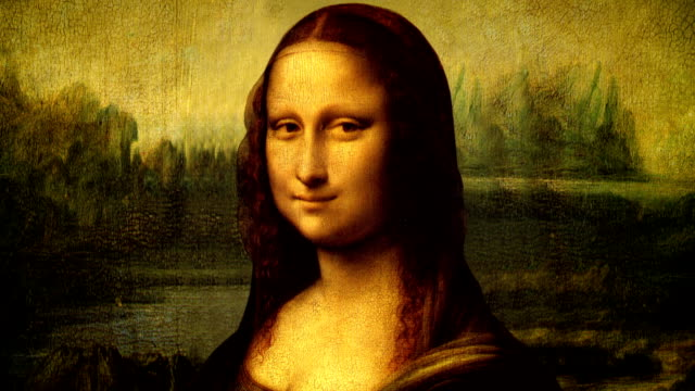 animated portrait of mona lisa - fine art portrait stock videos & royalty-free footage