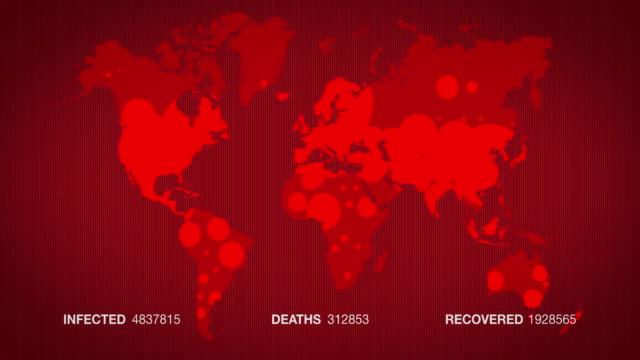 covid-19の広がりのアニメーション赤地図。4k - 感染症点の映像素材/bロール