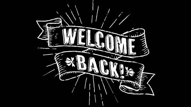 再びようこそ!白でアニメーションレトロバナービデオオーバーレイ - ウェルカム・サイン点の映像素材/bロール