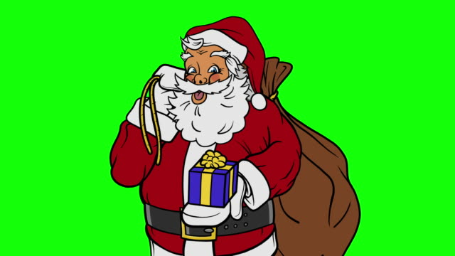 animated santa claus holding present close up on green screen - short phrase stock videos & royalty-free footage
