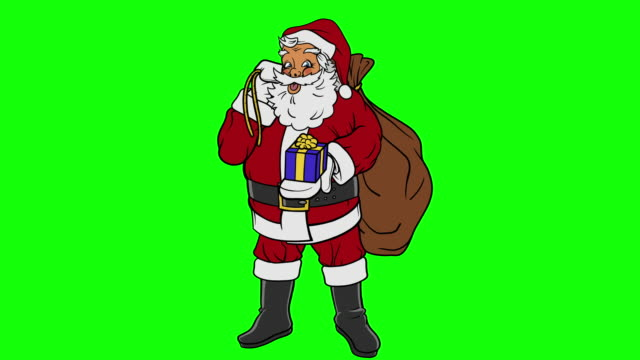 animated santa claus holding present on green screen - short phrase stock videos & royalty-free footage