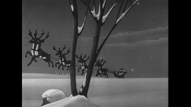 1946 Animated Santa, sleigh and reindeer lift off from ground