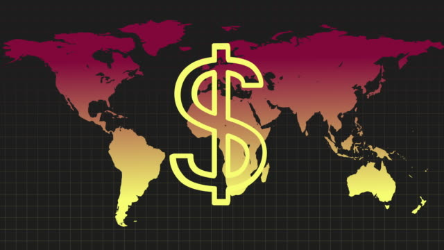 animated sequence showing a dollar sign revolving in front of a colourful world map. - dollar symbol stock videos & royalty-free footage