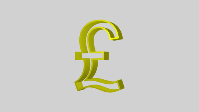 Animated sequence showing a gold British Pound symbol revolving.