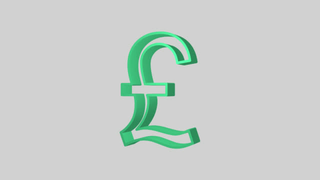 Animated sequence showing a green British Pound symbol revolving.