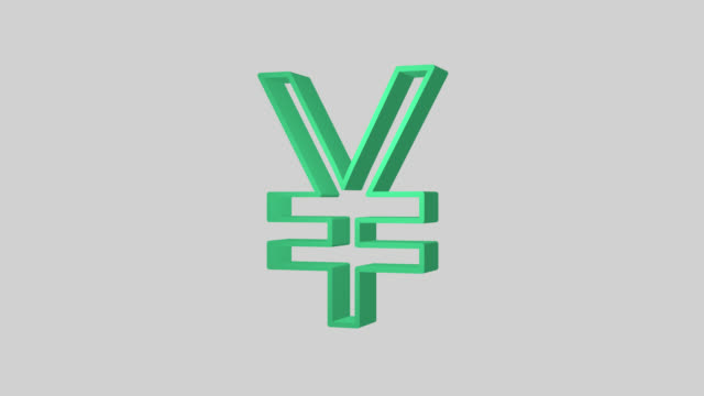animated sequence showing a green japanese yen symbol revolving. - yen symbol stock videos & royalty-free footage