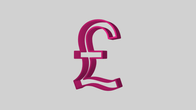 Animated sequence showing a pink British Pound symbol revolving.