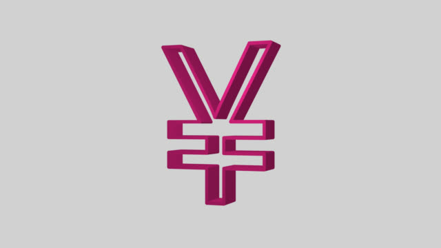 animated sequence showing a pink japanese yen symbol revolving. - yen symbol stock videos & royalty-free footage