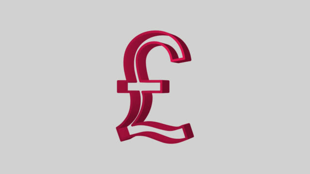 Animated sequence showing a red British Pound symbol revolving.