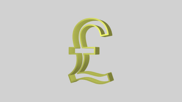 Animated sequence showing a yellow British Pound symbol revolving.