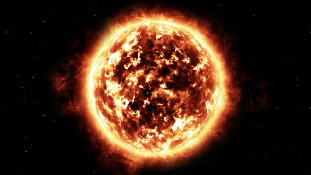 animated sequence showing solar activity on the surface of the sun. - stern weltall stock-videos und b-roll-filmmaterial