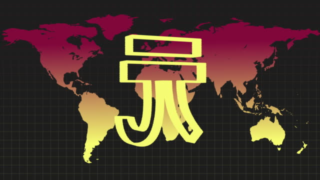 animated sequence showing the symbol for the chinese yuan revolving in front of a colourful world map. - 金銭に関係ある物点の映像素材/bロール
