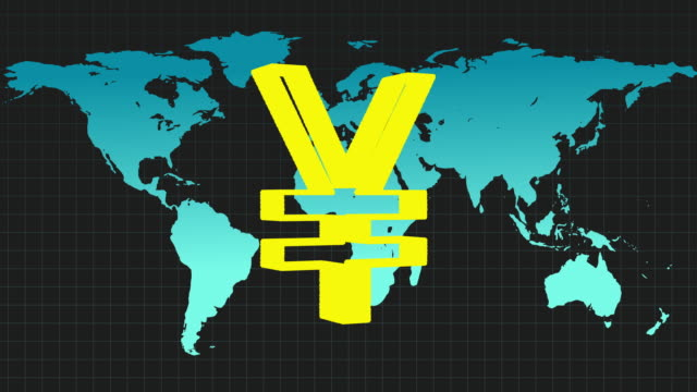 animated sequence showing the symbol for the japanese yen revolving in front of a colourful world map. - yen symbol stock videos & royalty-free footage