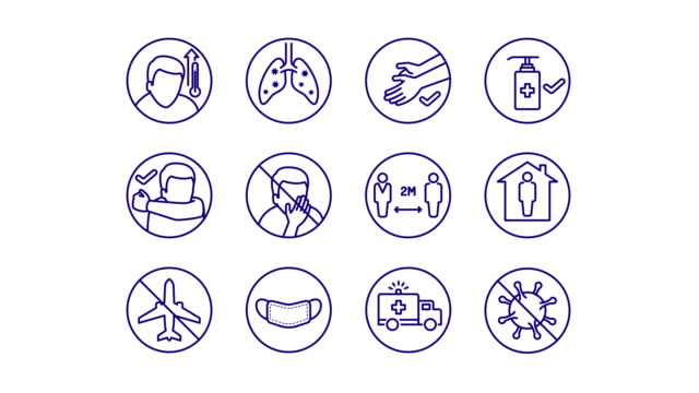 vídeos de stock e filmes b-roll de animated simple line art icons for covid-19 disease symptoms and preventions - saúde e segurança ocupacional