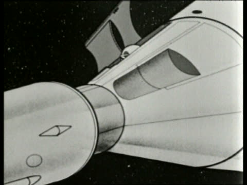 b/w 1965 animated soviet cosmonaut exiting spacecraft / sound - 1965 stock videos & royalty-free footage