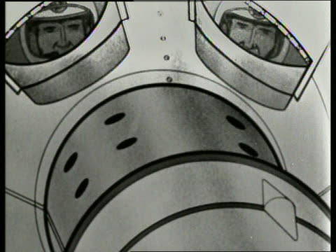 b/w 1965 animated soviet cosmonauts in space capsule / sound - 1965 stock videos & royalty-free footage