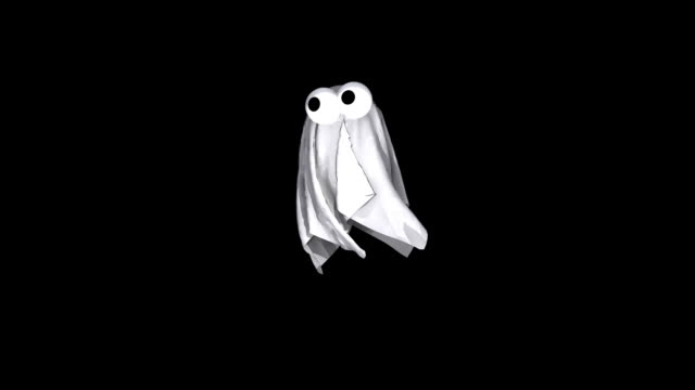 3D Animated Spooky Halloween Ghost Flying