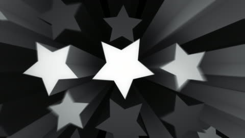 animated stars background loop - black and white (full hd) - star shape stock videos & royalty-free footage