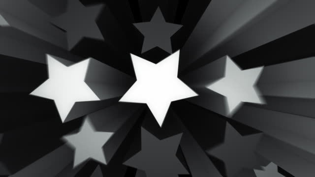 stockvideo's en b-roll-footage met animated stars background loop - black and white (full hd) - stervorm