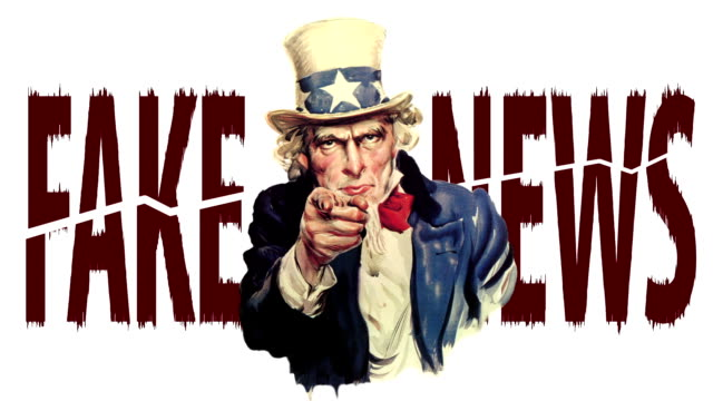 "Animated Uncle Sam talking: ""This is fake news"""