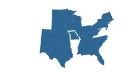 Animated USA map isolated on white background.