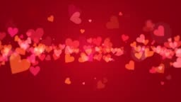 Animated valentine hearts on red