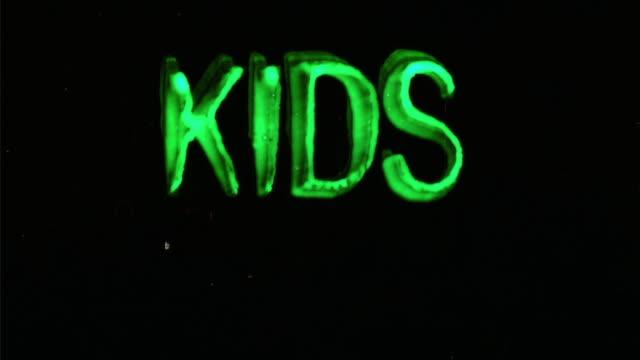 CGI, Animated word Kids on black background