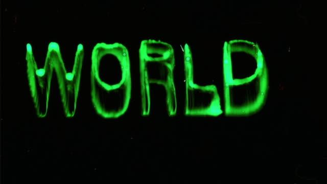 CGI, Animated word World on black background