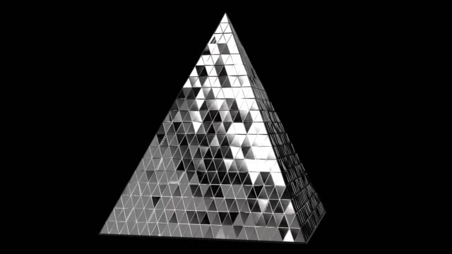 vídeos de stock e filmes b-roll de 3d animation abstract pyramid. abstract 3d rendering of geometric shapes. - modelo objeto