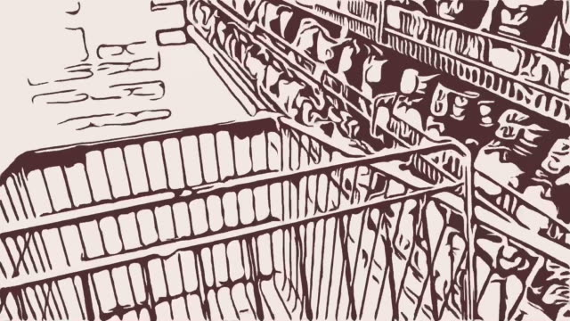 Animation cartoon ,background ,walking with shopping cart