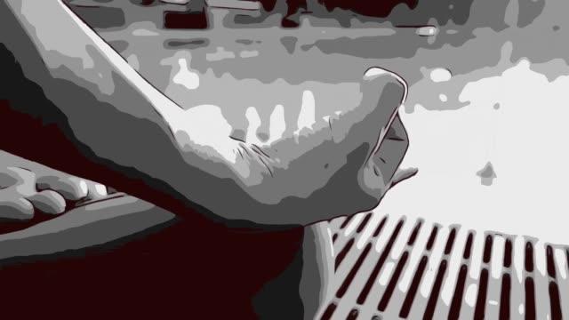 Animatie cartoon, menselijke workout yoga en mediteren bij zwembad