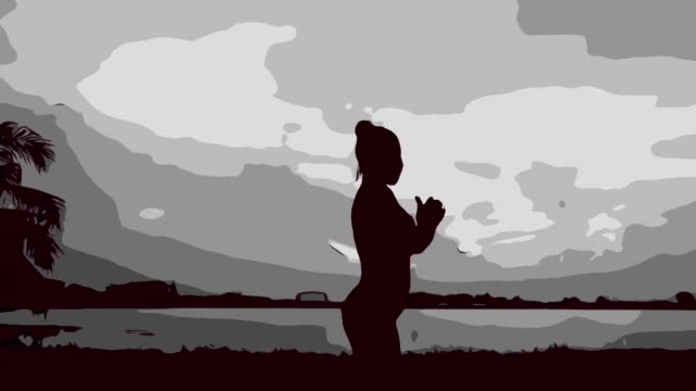 animation cartoon ,sexy woman workout yoga and pilates - deltoid stock videos and b-roll footage