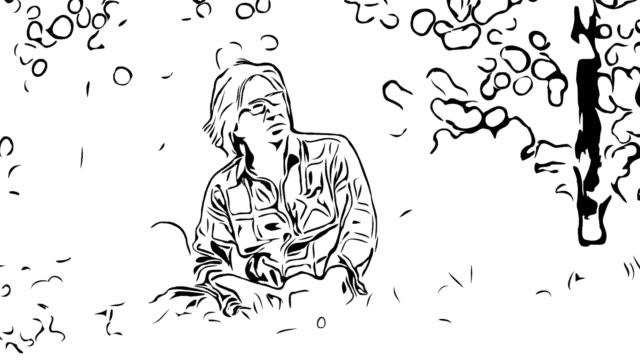 vídeos de stock e filmes b-roll de animation cartoon sketch , asian senior senior man relaxation in garden - old illustration