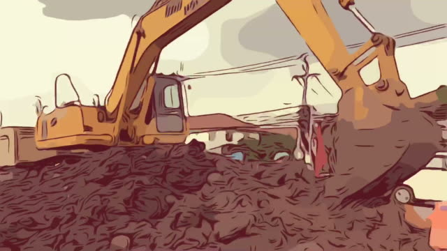 animation cartoon sketch , excavator at construction site - dump truck stock videos and b-roll footage