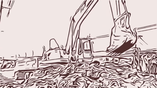animation cartoon sketch , excavator at construction site - digging stock videos & royalty-free footage