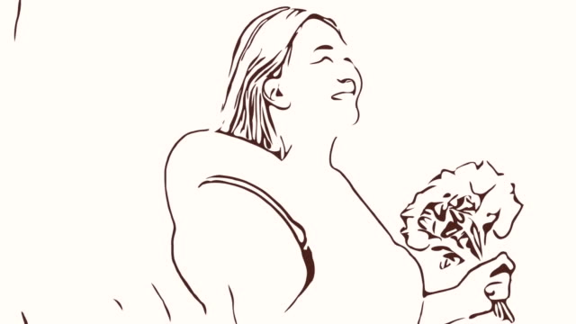 Animation cartoon sketch ,Facial expression by Asian mature woman in sunflowers field , feel freedom with arms outstretched