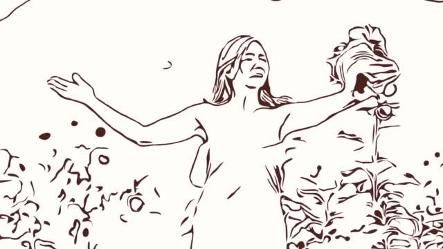 Animation tecknad skiss, ansiktsuttryck av asiatiska mogen kvinna solrosor i fältet känsla frihet med armarna utsträckta