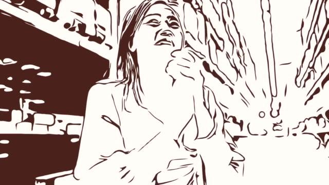 Animation Cartoon Skizze, Gesichtsausdruck von Geschäftsfrau im Geschäft, Erfolg, stolz, klatscht die hand