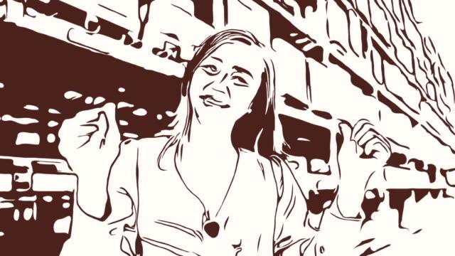 Animation Cartoon Skizze, Gesichtsausdruck von Geschäftsfrau im Geschäft, Erfolg, stolz, Daumen hoch